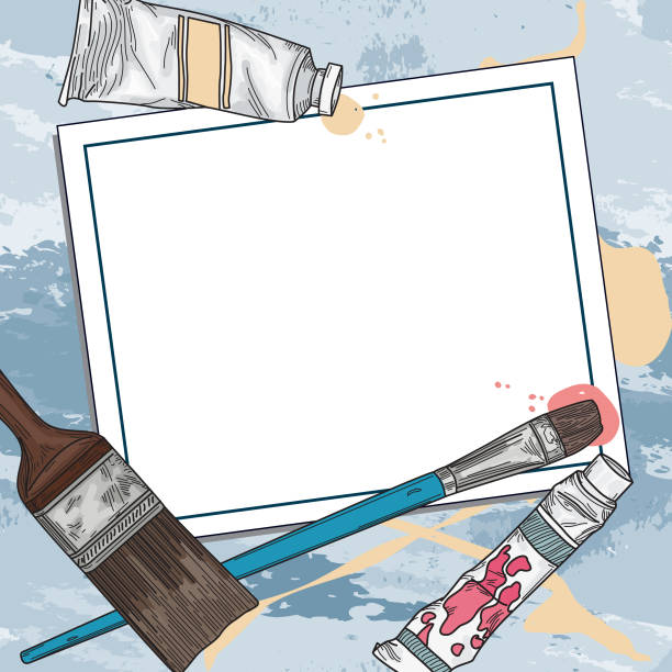 Art Supply and Paints Template and Background vector art illustration