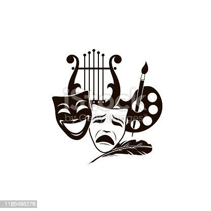 illustration of theatrical masks, lyre and palette isolated on white background