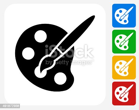 Art Tool Icon. This 100% royalty free vector illustration features the main icon pictured in black inside a white square. The alternative color options in blue, green, yellow and red are on the right of the icon and are arranged in a vertical column.