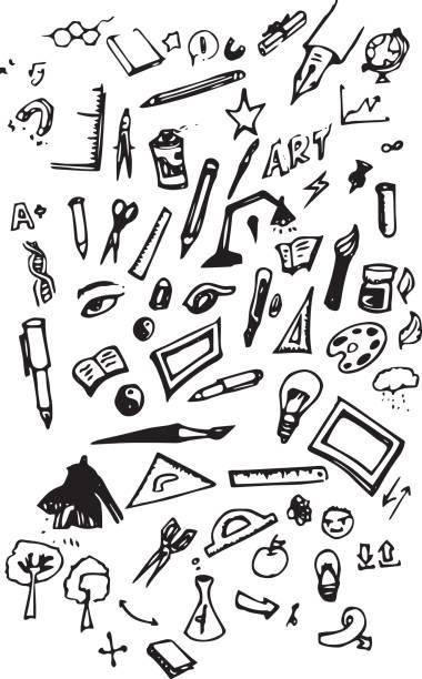 malwerkzeuge - doodles set eps10 - filzarbeiten stock-grafiken, -clipart, -cartoons und -symbole