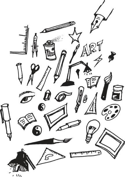 kunst-tools kritzeleien set vektor eps10 - filzarbeiten stock-grafiken, -clipart, -cartoons und -symbole