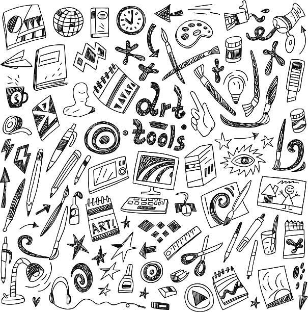art tools - doodles set vector art illustration