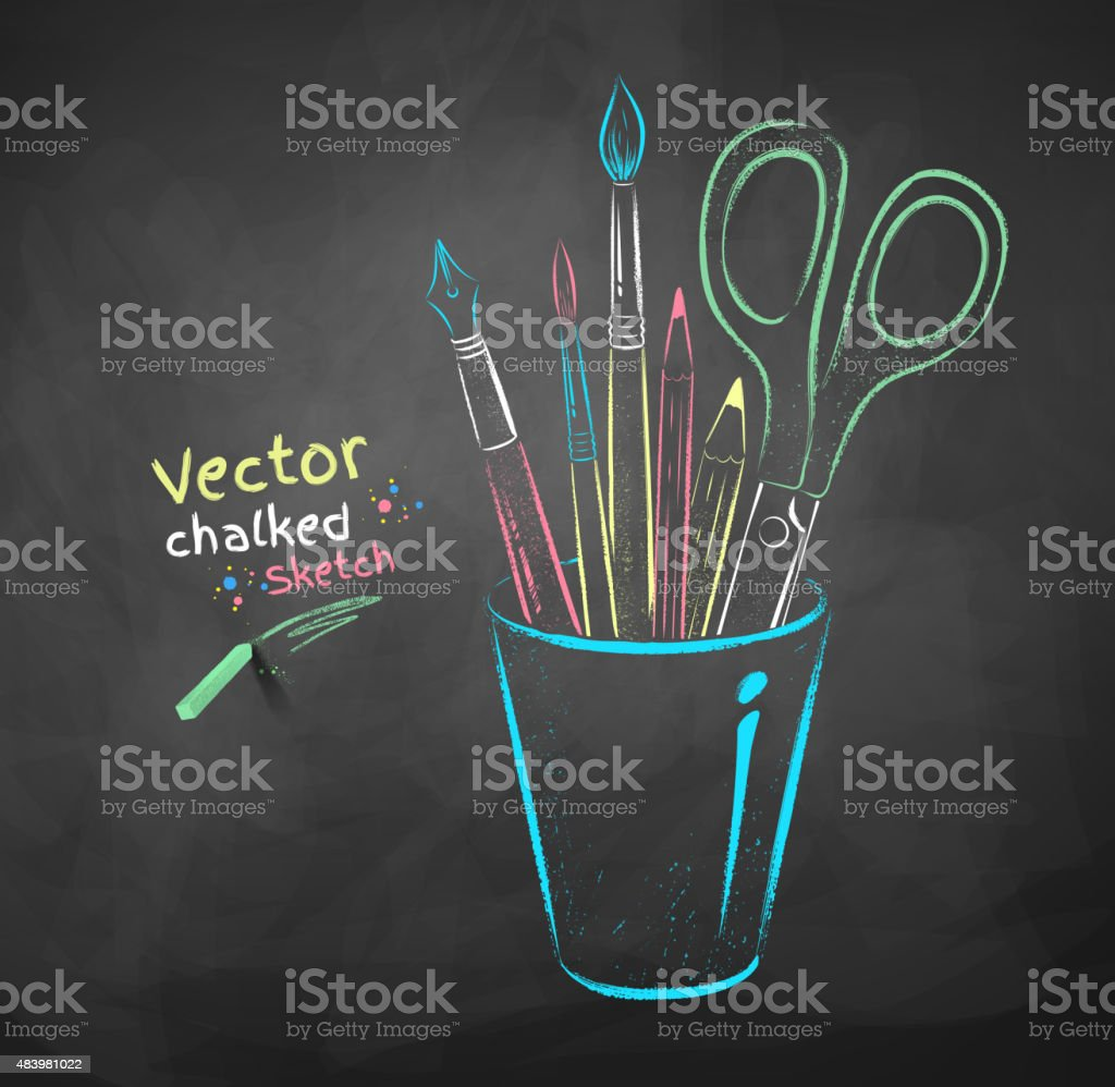 Art tools in holder. vector art illustration