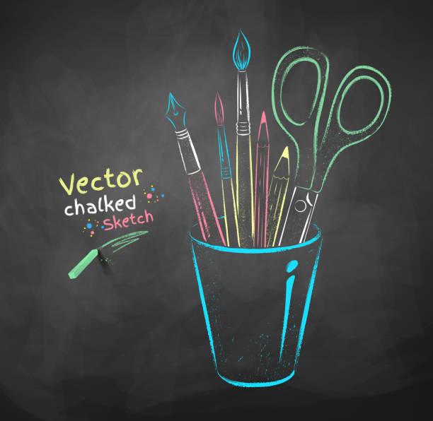 Art tools in holder. vector art illustration