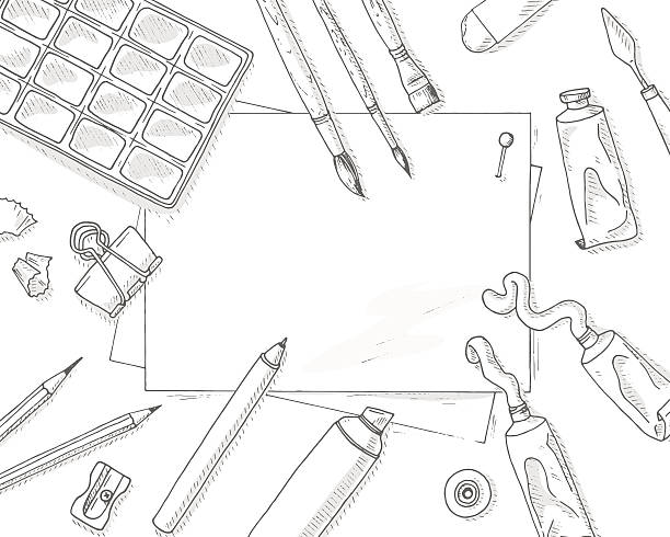 art tools mockup - artsy backgrounds stock illustrations