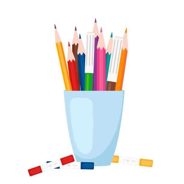Art tools, stationery in glass vector art illustration