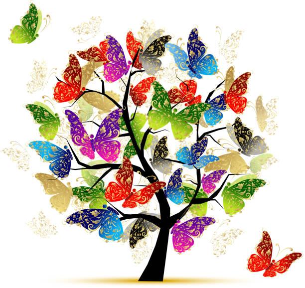 illustrazioni stock, clip art, cartoni animati e icone di tendenza di albero arte con farfalle per il tuo design - farfalla ramo