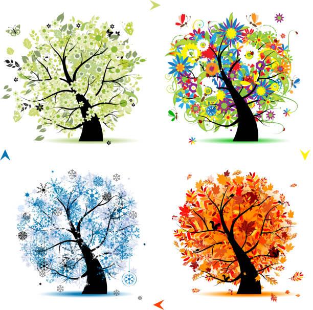 stockillustraties, clipart, cartoons en iconen met art trees collection for your design, four seasons - vogel herfst