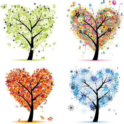 Art trees love collection for your design, four seasons