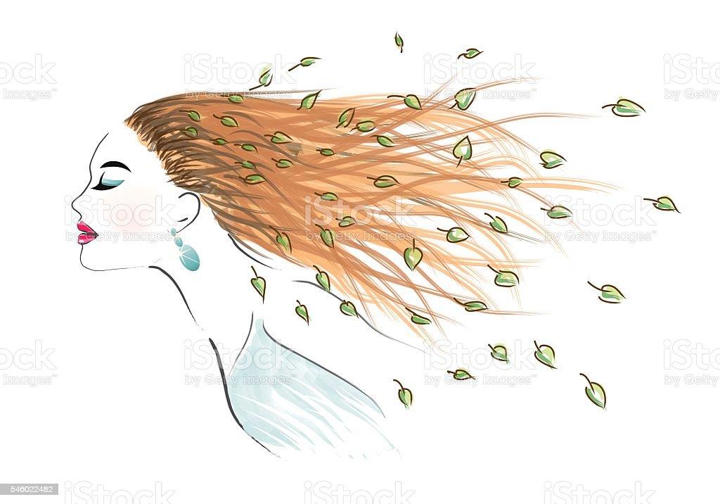 Art woman with long disheveled hair vector art illustration