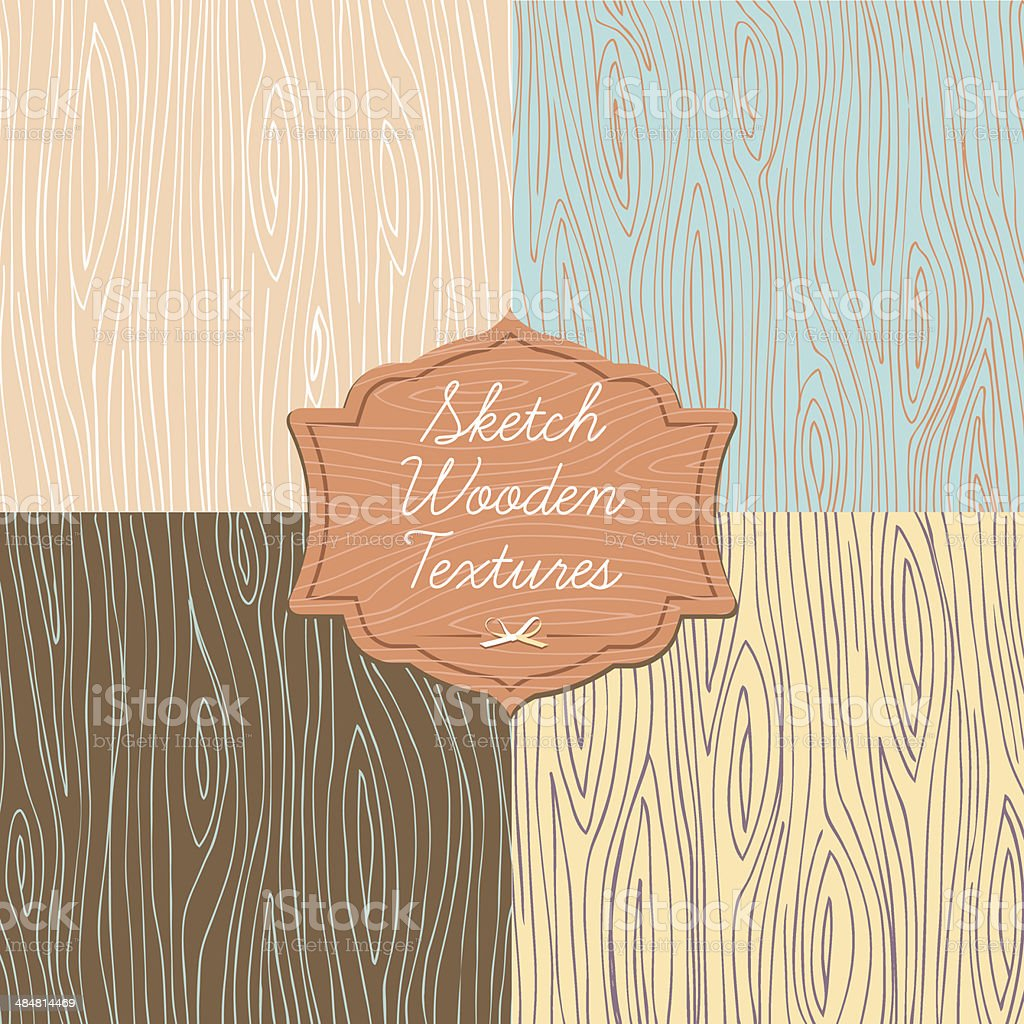 Art wooden texture with signboard vector art illustration