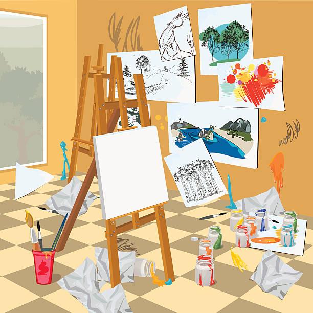 Arte interior de taller - ilustración de arte vectorial