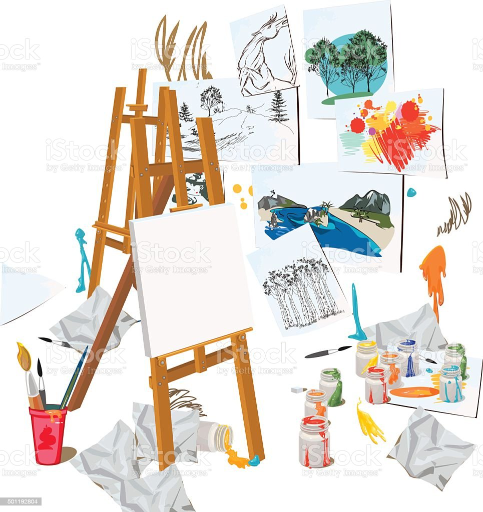 Art workshop interior vector art illustration