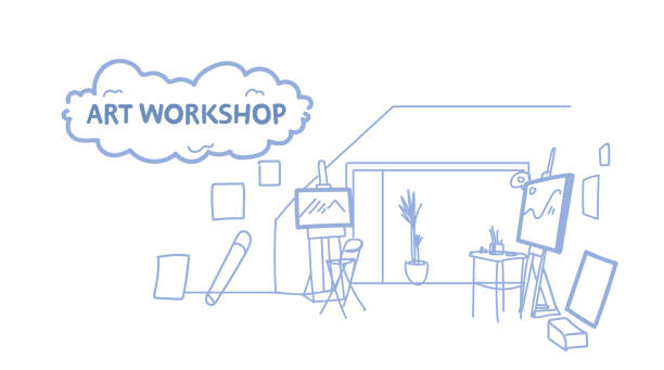 kunst werkstatt ateliers interieur leer keine menschen maler künstler zimmer skizzieren doodle horizontal - hausfarbpaletten stock-grafiken, -clipart, -cartoons und -symbole