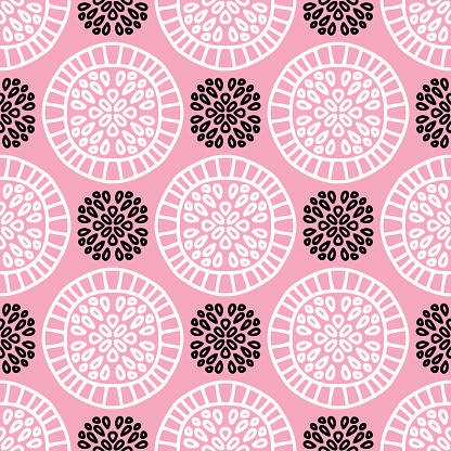 Art-deco circles pattern in pink white and black colors.