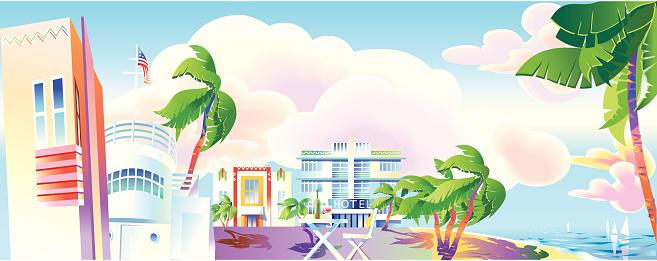 A panoramic view of Art-Deco era Miami.