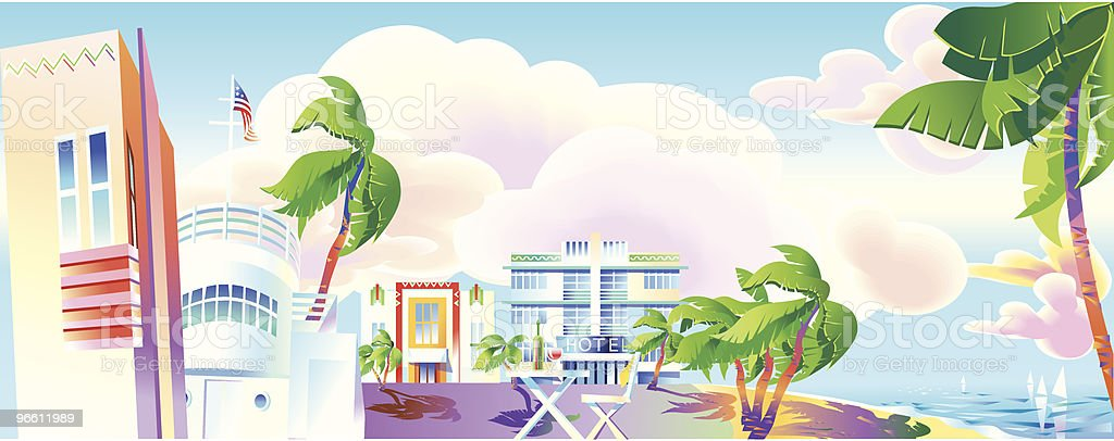 Art-Deco era Miami panoramic view vector art illustration