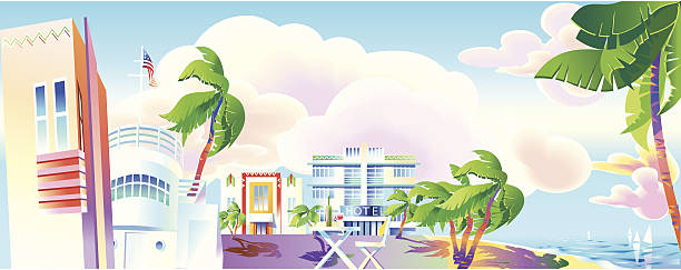 Art-Deco era Miami panoramic view vector art illustration