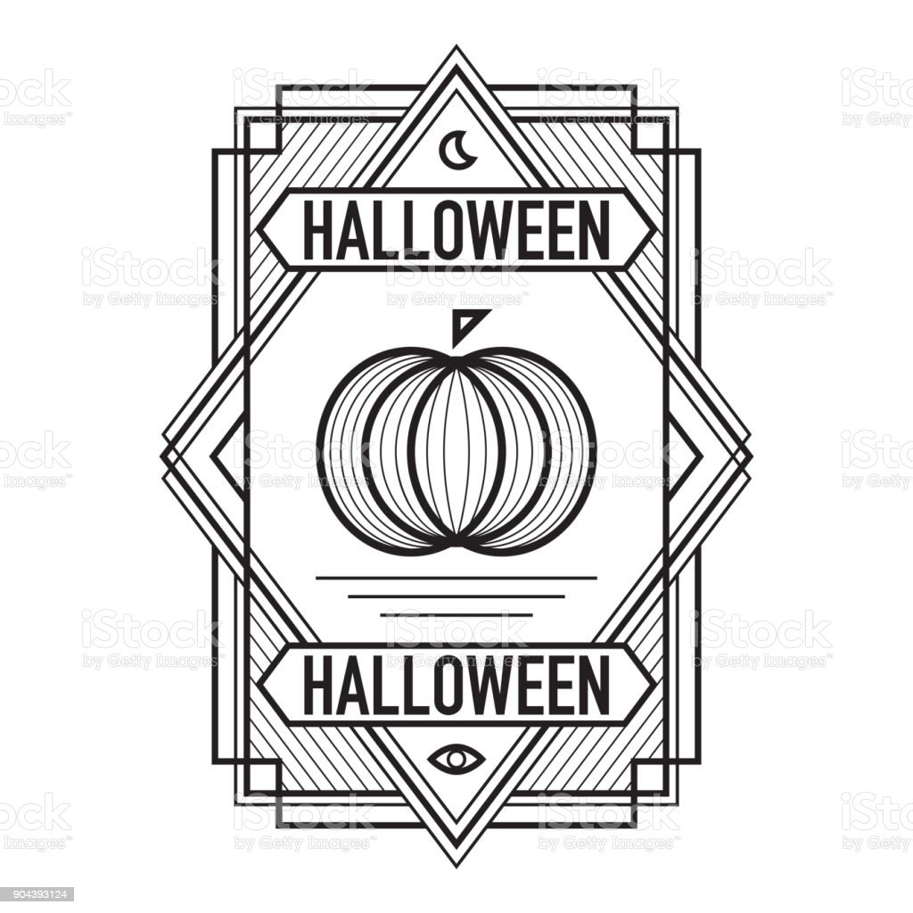 ArtDeco Halloween Frame Black vector art illustration