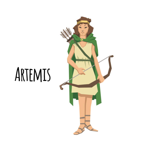 Artemis, ancient Greek goddess greek of the hunters and the moon. Mythology. Flat vector illustration. Isolated on white background. Artemis, ancient Greek goddess greek of the hunters. Ancient Greece mythology. Flat vector illustration. Isolated on white background. artemis stock illustrations