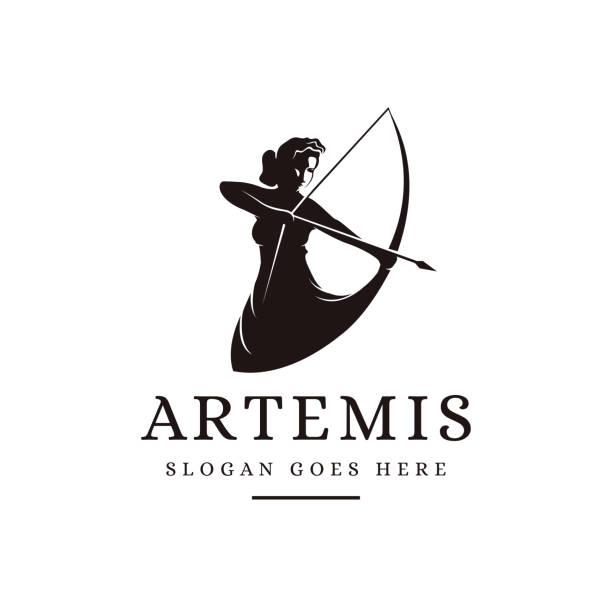 Artemis Goddess icon illustration vector template, archer vector Artemis Goddess icon illustration vector template, archer vector artemis stock illustrations