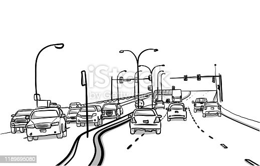 Busy artery road with cars and street lights in sketch illustrations