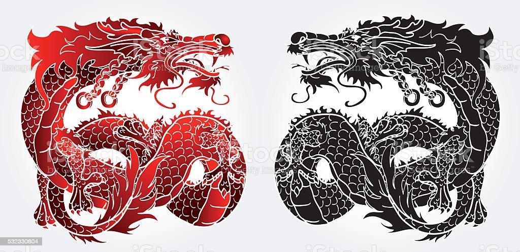 Искусные азиатских Дракон черный и красный версия векторная иллюстрация