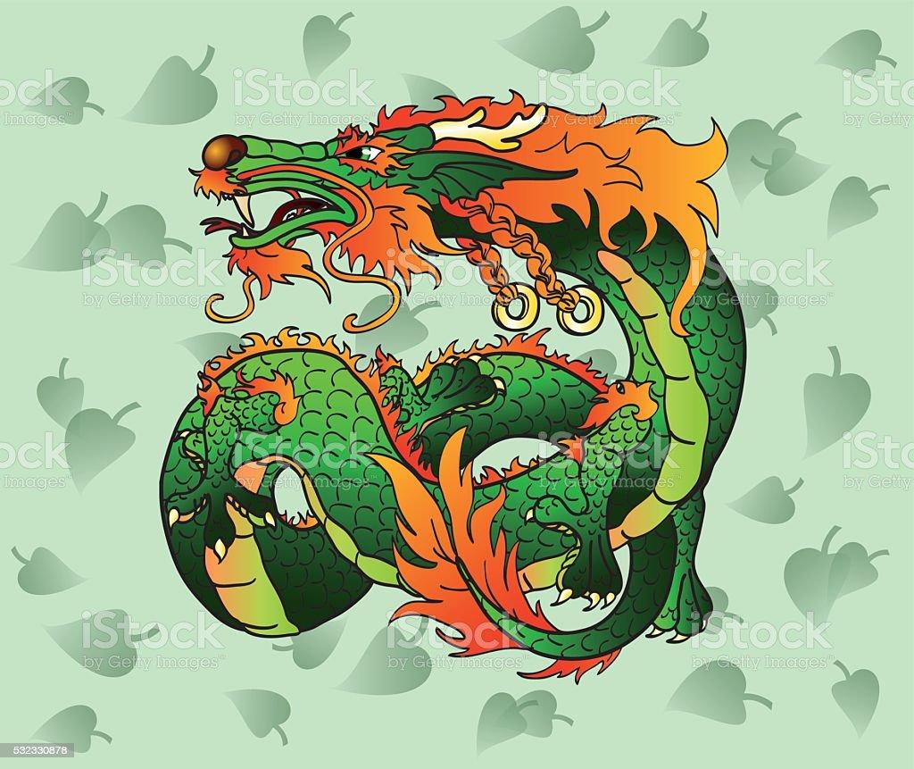 Искусные зеленый азиатских Дракон с листьями векторная иллюстрация