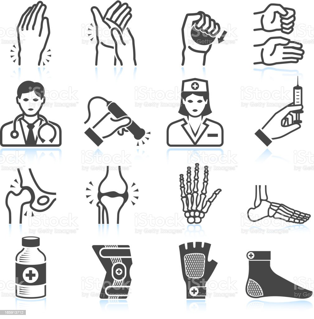 Arthritis Bones and Joints Pain black & white icon set royalty-free stock vector art