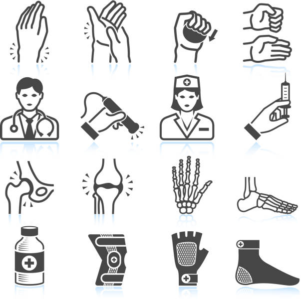 Arthritis Bones and Joints Pain black & white icon set vector art illustration