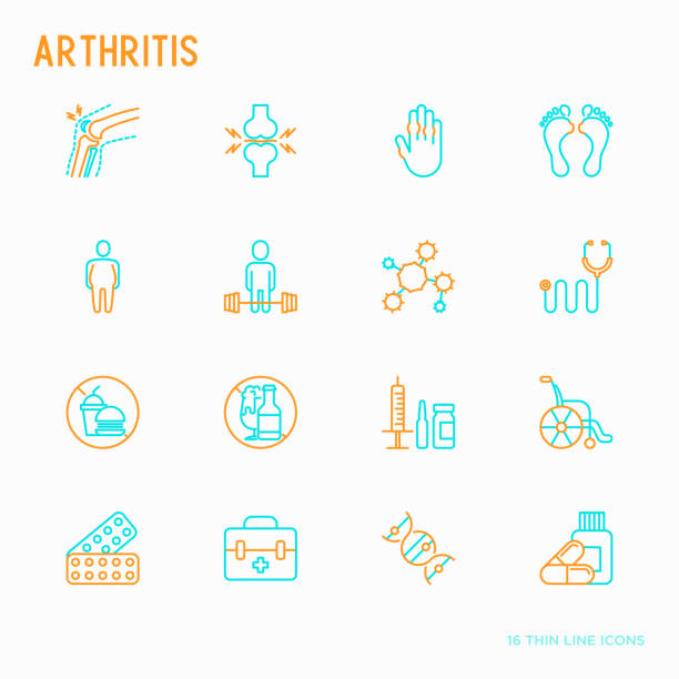 Arthritis thin line icons set of symptoms and treatments: pain in joints, obesity, fast food, alcohol, medicine, wheelchair. Vector illustration. vector art illustration