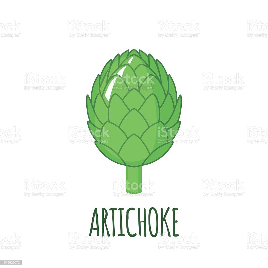 Artichoke icon in flat style on white background vector art illustration