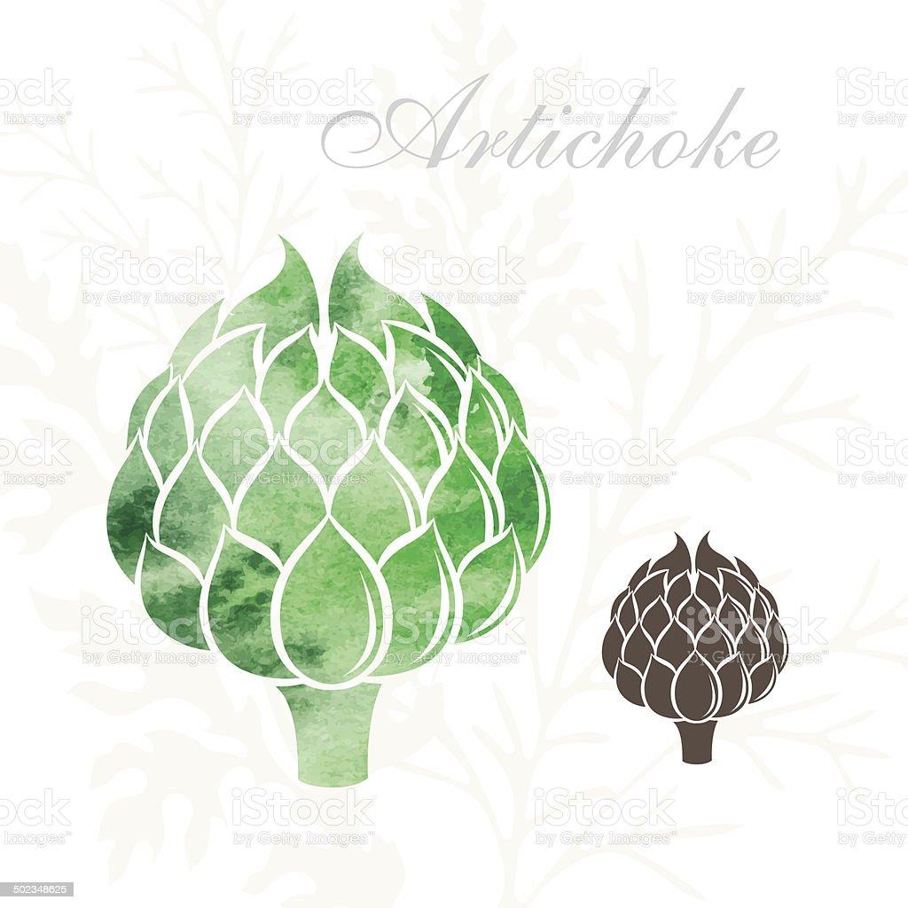 Artichoke icons set. vector art illustration