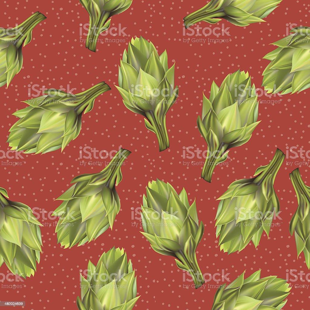 Artichoke Seamless Pattern vector art illustration
