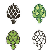 collection of various artichoke bud vegetable illustration isolated on white background