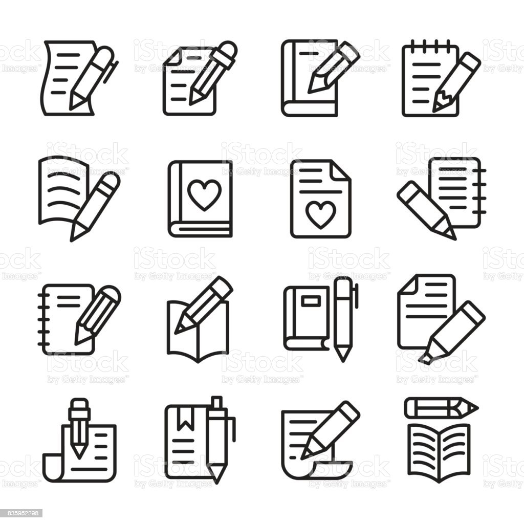 Article Writing Line Vector Icons Set vector art illustration