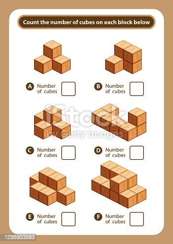 articles sheet count the number of cubes on each block, kids activity sheet for counting number 3d cubes, logic counting for preschool children, worksheet educational a mathematical game for printable