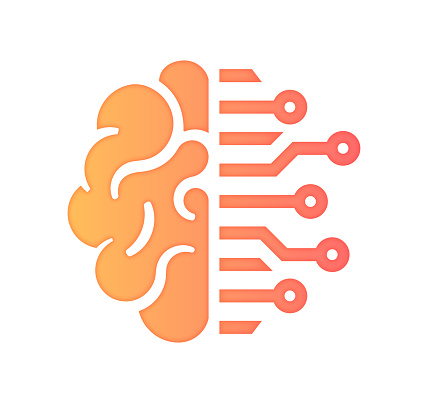 Artifical Intelligence & Business Gradient Fill Color & Paper-Cut Style Icon Design