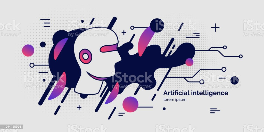 Artifical intelligence, conceptual poster. The analytical system. vector art illustration