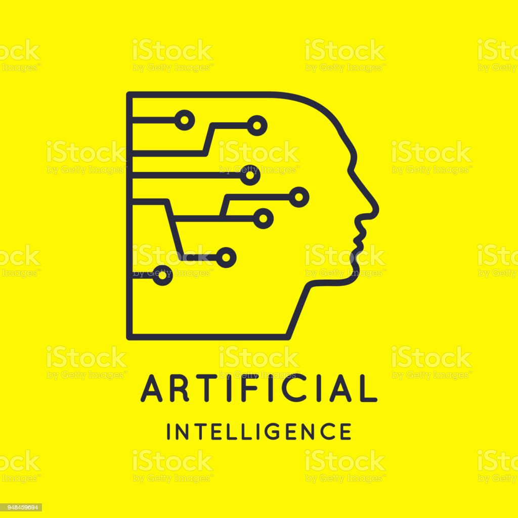 Artifical intelligence, conceptual sign and emblem. The analytical system vector art illustration