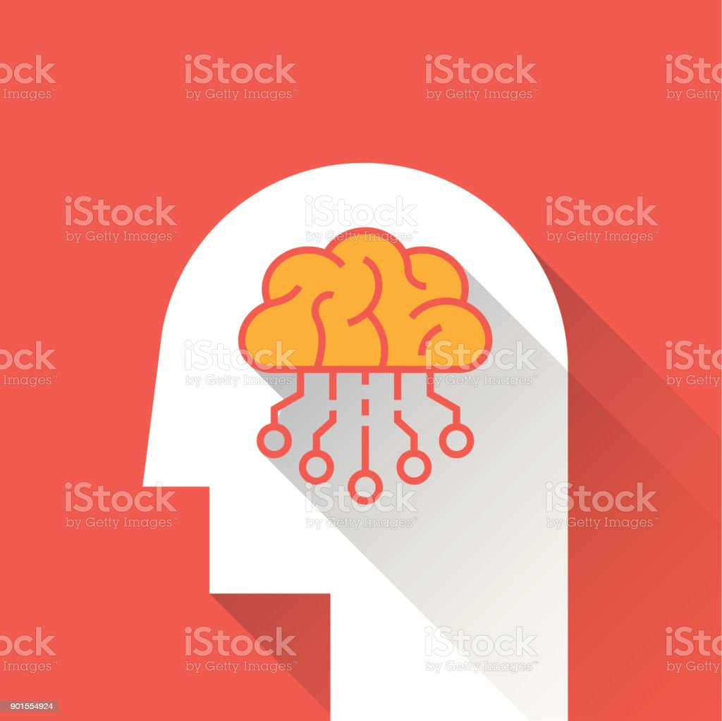 Artifical Intelligence Flat Icon vector art illustration
