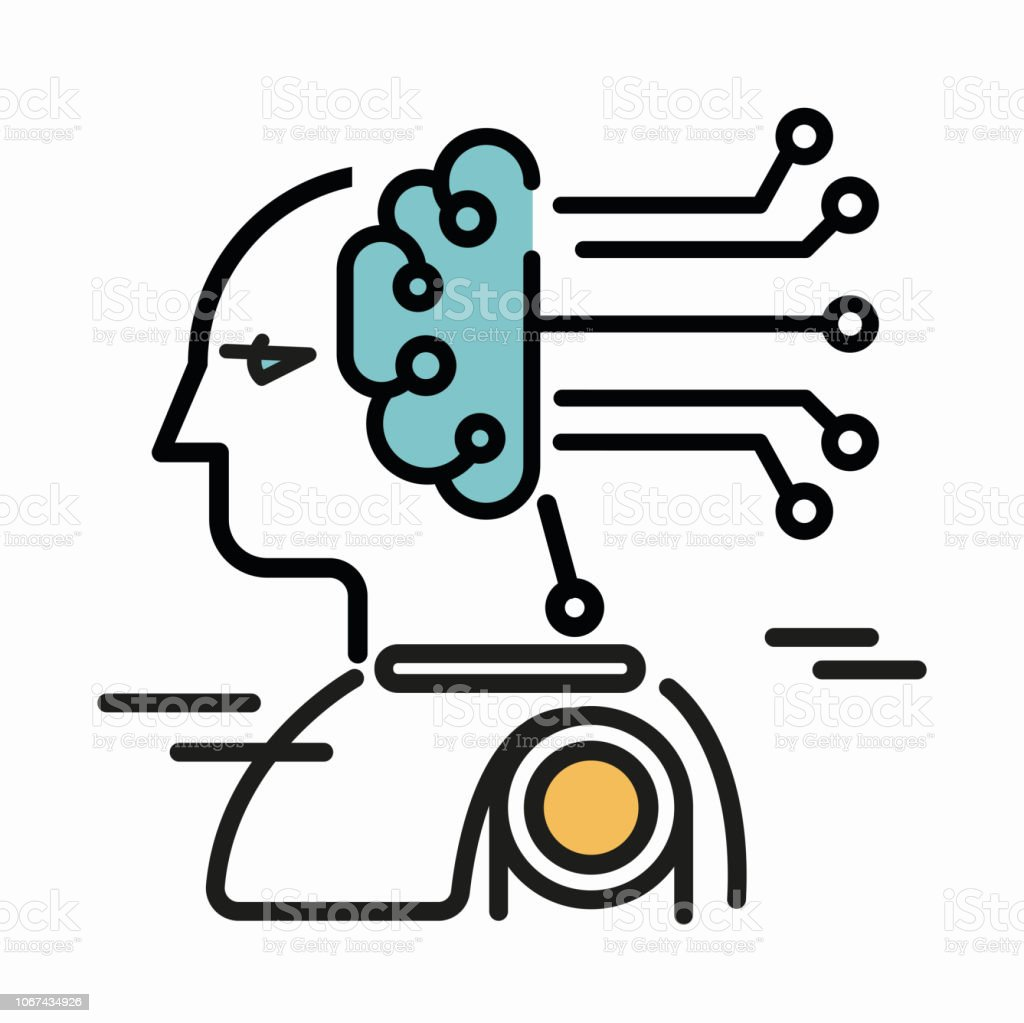 artifical intelligence icon vector art illustration