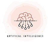 Artifical Intelligence Icon with Watercolor Patch