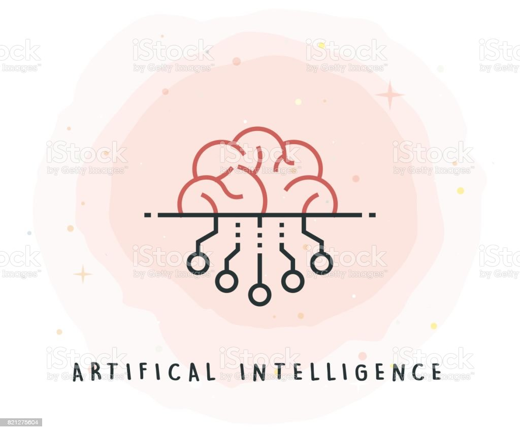 Artifical Intelligence Icon with Watercolor Patch vector art illustration