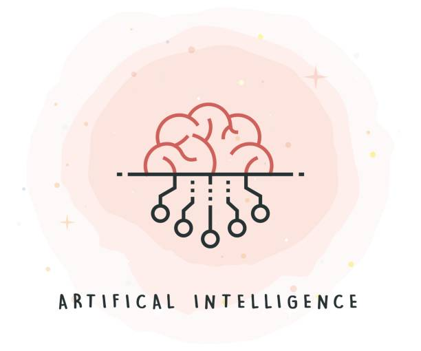 artifical intelligence icon with watercolor patch - artificial intelligence stock illustrations, clip art, cartoons, & icons