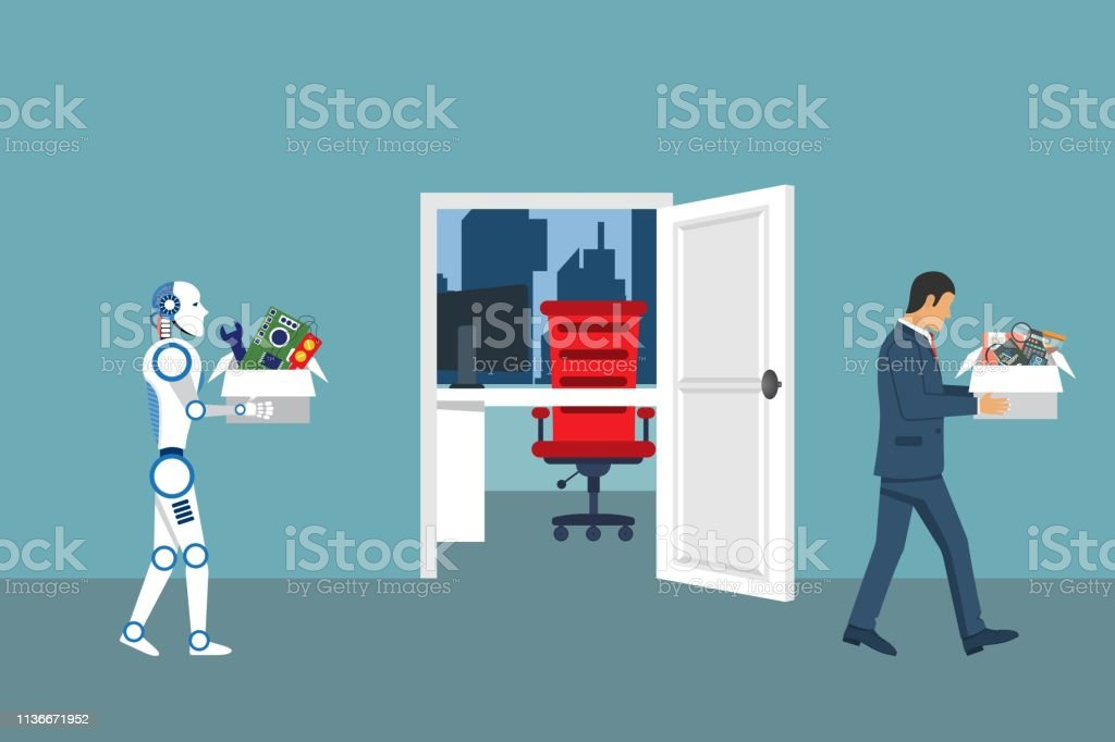 Artifical intelligence robot replaces the work of man. People replaced by technology. Robotics industry. Vector illustration in flat design vector art illustration