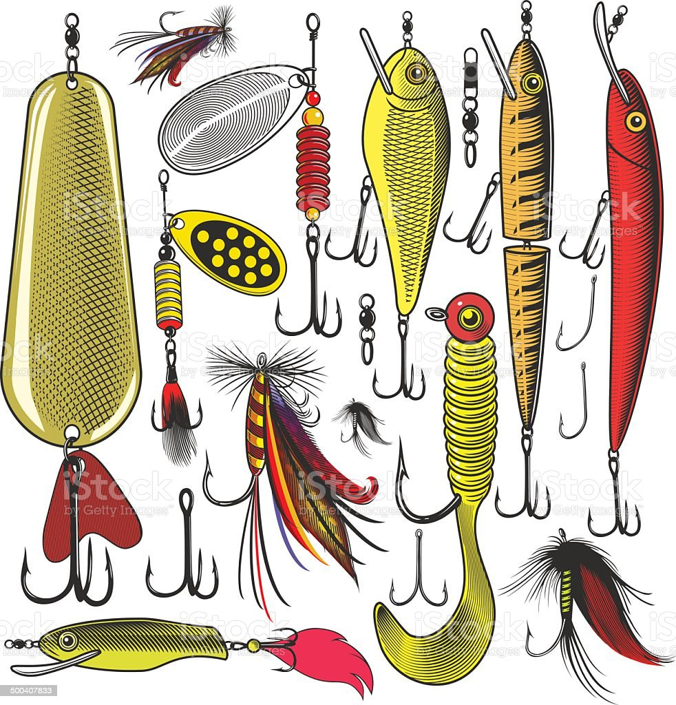 Artificial fishing lures vector art illustration