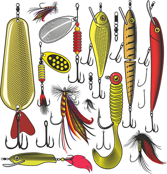 Artificial fishing lures Vector illustration, isolated, grouped, transparent background freshwater fish stock illustrations