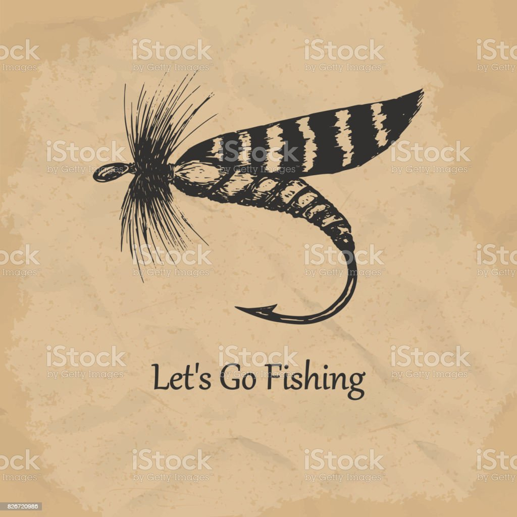 Artificial fly, vintage engraved illustration. Vector illustration. vector art illustration