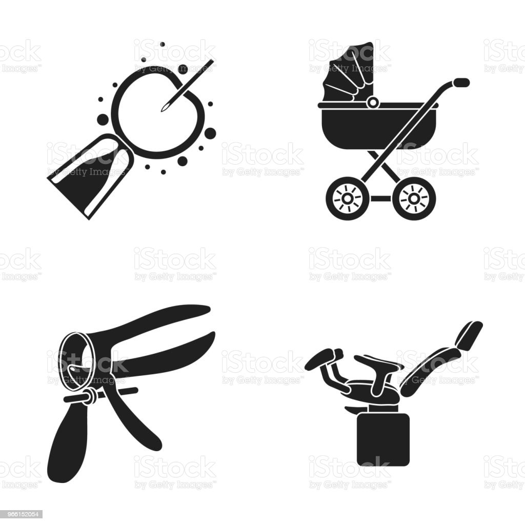 Artificial insemination, baby carriage, instrument, gynecological chair. Pregnancy set collection icons in black style vector symbol stock illustration web. - Векторная графика Без людей роялти-фри